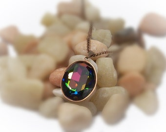 Crystal Pendant Crystal Necklace Copper Necklace Vitrail Swarovski Crystal Pendant - 13081