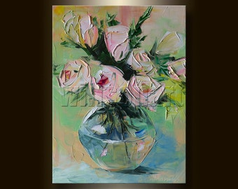 Rose Floral Canvas Modern Flower Oil Painting Textured Palette Knife Original Art Pink Roses 12X16 by Willson Lau