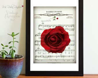 Grateful Dead, Ramble On Rose, on Song Music Sheet, Print