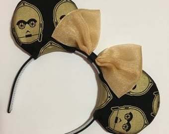 Star Wars C3PO Gold Droid Mouse Ears with Bow - Mad Ears - IN STOCK
