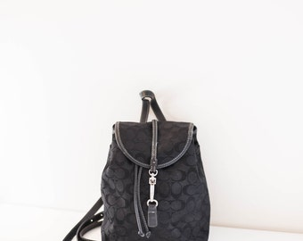 COACH black fabric backpack bag - leather trim satchel