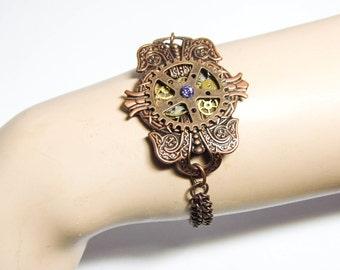 Steampunk clockwork bracelet, Victorian bracelet, brass cogs, gold copper, steampunk bracelet, victorian jewelry, cog clockwork