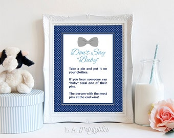 Don't Say Baby Game Sign, Navy & Grey Bow Tie Baby Shower Game, Diaper Pin, DIY Printable, INSTANT DOWNLOAD