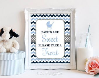Babies Are Sweet Please Take A Treat Shower Sign, Navy Blue Chevron Baby Shower Favor, Silver Glitter, 2 Sizes, DIY, INSTANT DOWNLOAD