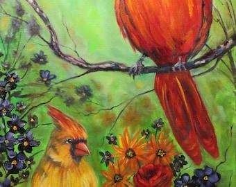 Birds Cardinal couple red bird flowers oil painting, original art by Sandra Cutrer Fine Art, 12 x 24 inch canvas