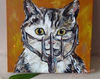 Mad Max Cat Art Original Acrylic Painting on Canvas OOAK