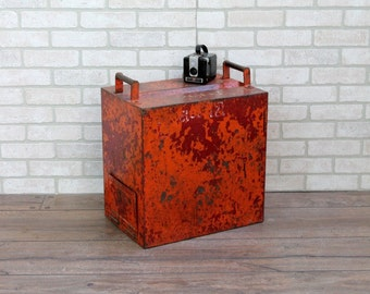Vintage Industrial Orange Ballot Box Small Trunk Industrial Lockbox Chest Photo Prop Boho Decor