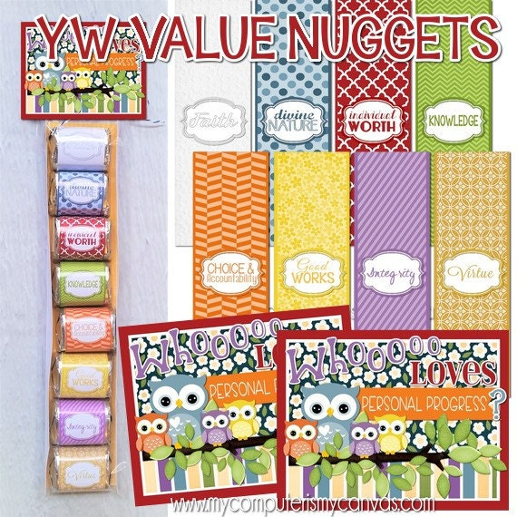 YW Value Nugget Wrappers LDS Young Women Printables Candy
