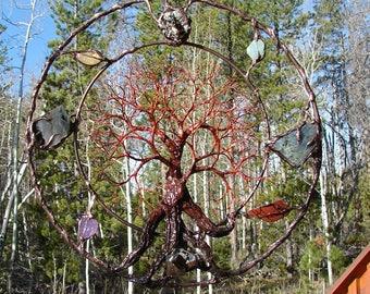 12 inch metal tree wall art, Circle of Life Passage Grove, golden Pyrite, Labradorite, Aquamarine, Citrine, Amethyst, unique metalwork art