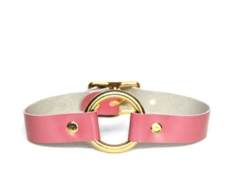 O-Ring Choker -- Rose Pink Leather