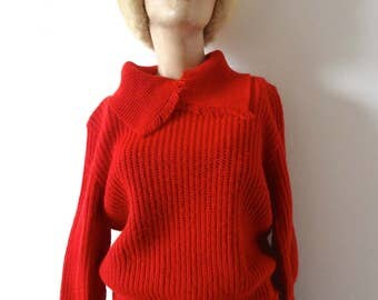 Vintage 1940s Red Sweater shawl collar knit pullover with drawstring waist