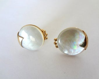 Vintage 1960s SWANK Cufflinks - mother of pearl with gold tone metal