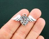2 Angel Heart Charms Antique Silver Tone 3D Open Design - SC6148
