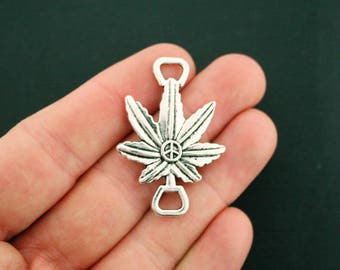 4 Weed Leaf Connector Charms Antique Silver Tone Peace Sign - SC2431