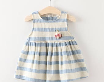 Stripes Cotton Dress Kids Clothes Toddler Girl Baby Breathable Summer Frock Infant Cute Sleeveless Sailor Newborn Dress with Free Brooch