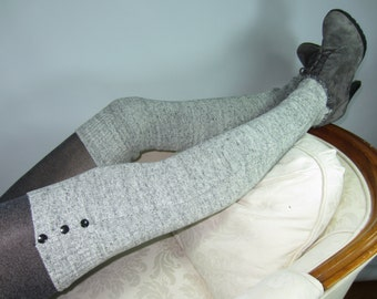 Black / White Leg Warmers Women Thigh High Over the Knee Knit Boot Sock Soft Cotton Knit A1162