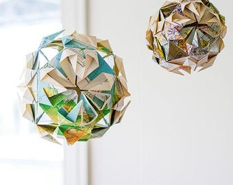Paper Origami Globes - Set of 3, Handcrafted from Vintage Maps