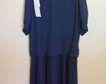 Vintage 1980's blue drop waist pleated skirt secretary dress