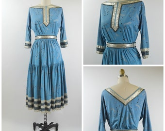 1950s Patio Dress Blue and Silver Size Medium Skirt and Top Painted Blue Knit with Metallic Rickrack Trim by Faye Creations