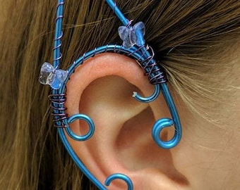 Lavender Butterfly and Blue Wire Wrap Elf Ears