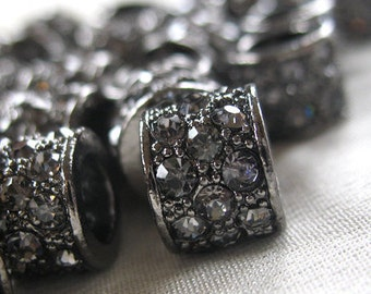 4pc - Black Diamond Crystal Rhinestone Studded Gunmetal Rondell large hole Spacer Barrel Bead, not AB, 10mm x 9mm, hole 5mm. pkg 4 piece