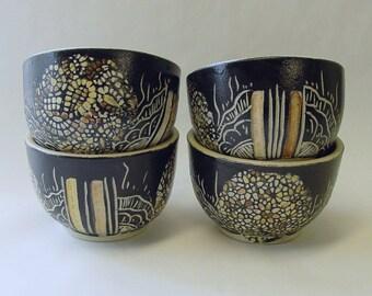 Barcode Mandala Tea Cups or Small Bowls