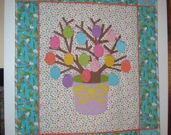Handmade Quilted Spring Easter Egg Tree Wall Hanging