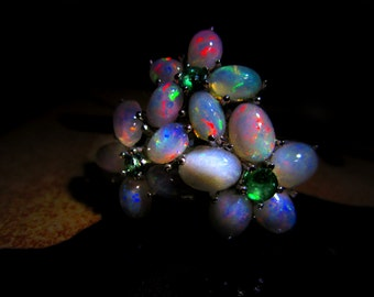 Enchanted Ring of the Fairy Queen - Ethiopian Opal, Ruby, & Emerald Sterling Silver Ring, Nature Magic, Love, Fae Communication, Water Magic