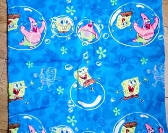 Sponge bob, patrick, starfish, bubbles, blue cartoon, nostalgia cushion, pillow, cover only, boys room, bedroom