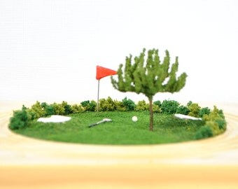 Golf Away - Miniature Golf Diorama Table Top Garden Dry Terrarium Miniature Golf Scene Miniature Garden Handmade by A Garden to Treasure
