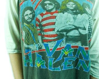 Vintage Van Halen shirt 80s 3/4 Sleeve Baseball Tee 80s tee 80s shirt Band tee Van Halen tee Concert shirt David Lee Roth