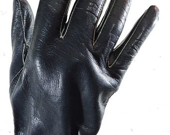 Ladies Vintage Blue Leather Longer Length Gloves Size 7