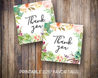"Succulent Favor Tags, 2.25"" Square Tags, Thank You Tags, Gift Tags, Green, Pink, Teal, Orange, Digital Download, Printable Tags, 701"