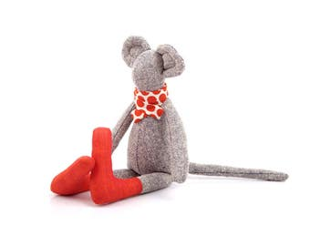 Stuffed Mouse , plush mice  , mouse doll , minimalist mouse , timo's doll , hip kids , modern rag doll , fine toy , baby toy , soft toys