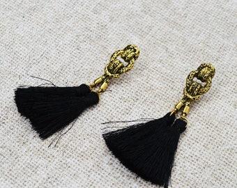SALE - Black  Tassel Knot Earrings, Bohemian Antique Gold Stud Earrings, Antique Ethnic Dangle Earrings, Gypsy Belly Dance Earrings
