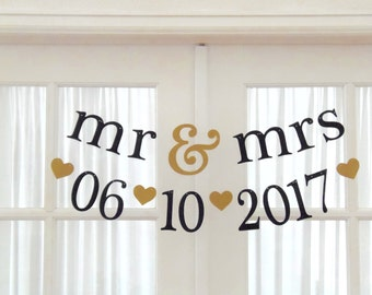 mr & mrs AND date Banner.  Ships Priority.  2 Wedding Banners.  Save the Date.  Wedding Decor.  Bridal Shower.  Photo Prop.  5280 Bliss.