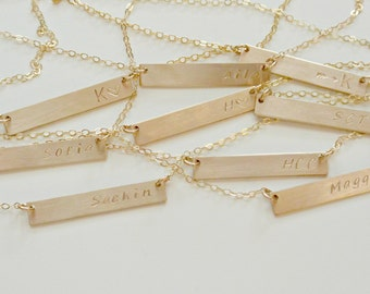 Custom Name Necklace, Dainty Gold Bar Necklace, Gold Bar Initial Necklace, Gold Necklace, Rectangle Bar Necklace, Personalized Necklace