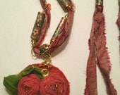 RESERVED FOR VICKI - Sari Silk Flower Pendant Necklace and Earrings - Paper Bead Necklace - Beaded Necklace and Earrings