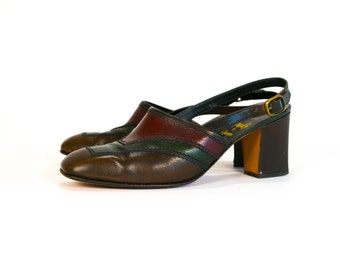 Vintage 1960's Italian Leather Sling Back Heels Made in Florence Italy by Amalbi by Rangoni Women's Size 9 - 9 1/2 US Retro/Hip/Mod