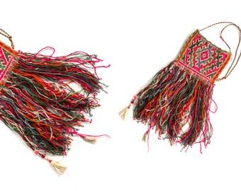Vintage 60's Vibrant Kilim Fringe Wool Shoulder Bag / Ethnic / Handwoven / Crossbody Bag / Neon