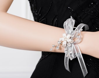 Wrist Corsage - Pearl & Silver Corsage for Weddings or Prom - Wedding Corsage - Bridesmaid Corsage - White Corsage,