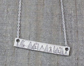 Forest Necklace - Hand Stamped Jewelry - Evergreen Necklace - Sterling Silver Bar Necklace - Pine Tree - Nature Necklace - Wanderlust
