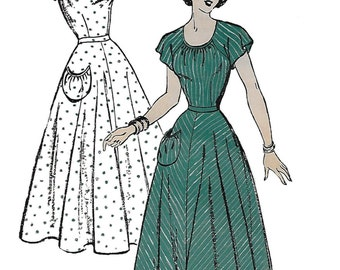 New York 399 Womens 40s Vintage Dress Sewing Pattern with Kimono Sleeves Bust 32