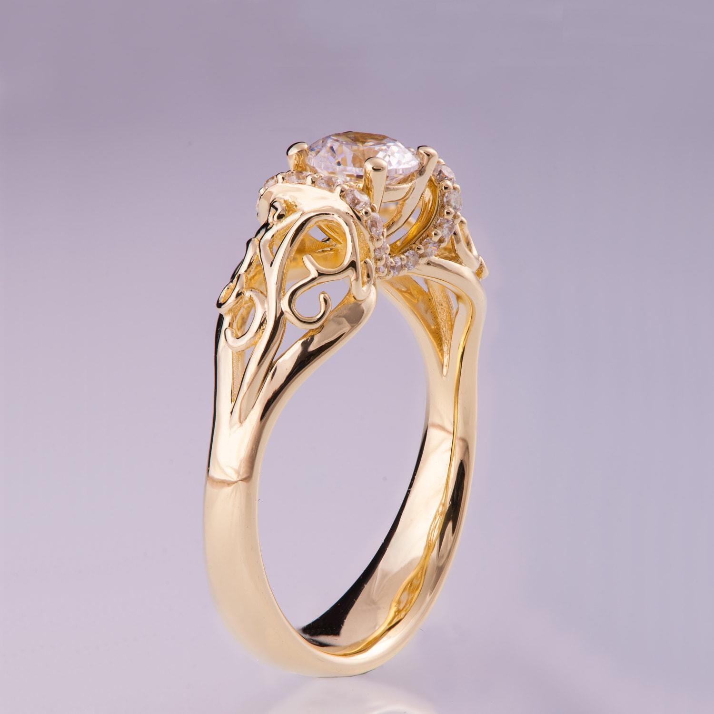 14k gold und diamant verlobungsring und ein schmaler gold. Black Bedroom Furniture Sets. Home Design Ideas