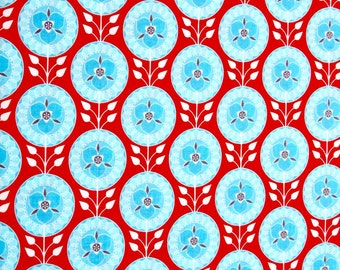 Aqua and Red fabric from Riley Blake designs, 100% cotton for Quilting and general sewing projects.
