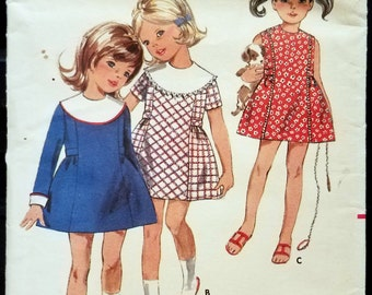 Vintage Butterick 5164 Sewing Pattern 5164 for Size 2 Girl's Dress With Puritan Collar from 1967 Cut