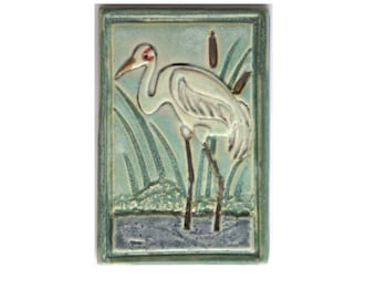 Whooping Crane Arts and Crafts MUD Pi handmade 4x6 ceramic tile
