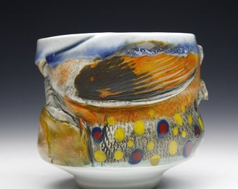 Fish Art Large Hand made Teabowl Wood Fired Cone 10 Brook Trout with Flies One of a Kind Gyotaku