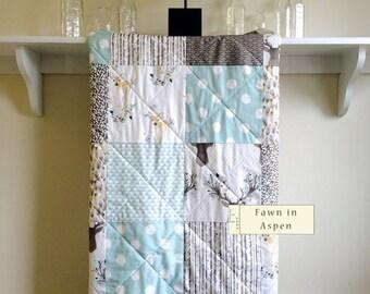 Baby Quilt Woodland, Modern Crib Quilt, Boy, Girl,  Aqua Blue Grey Baby Bedding, Deer Crib Bedding, Blue Baby Blanket, Fawn in Aspen