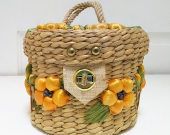Vintage Tan Floral Woven Round Sewing Basket Case